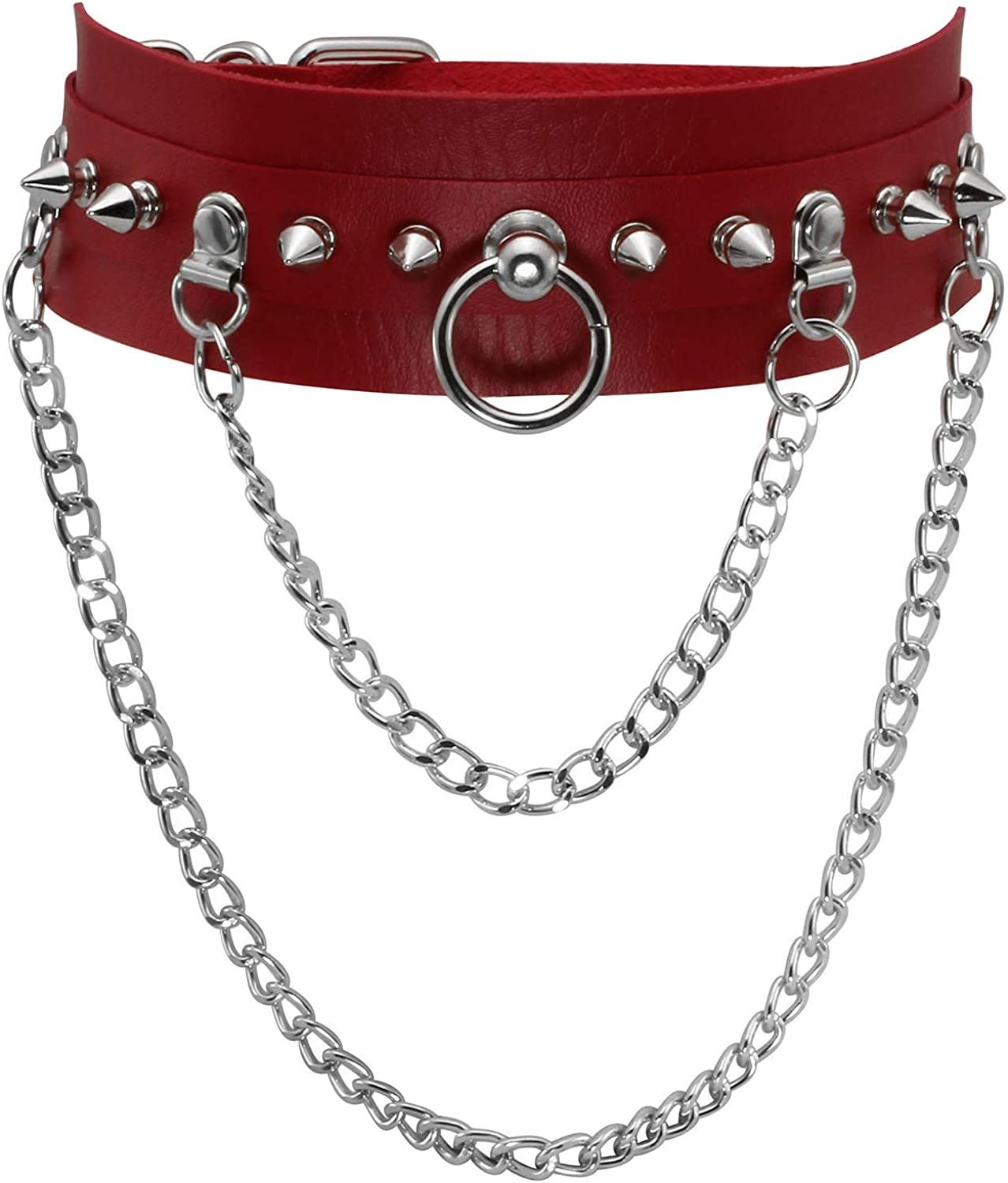 JJDreams Vintage Punk Black PU Leather Choker Cool Studded Rivet Gothic Necklace Collar with Chain