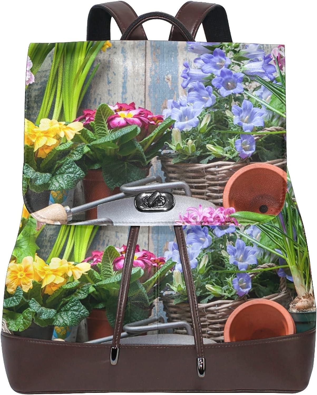 Women Leather Backpack Ladies Fashion Shoulder Bag Large Travel Bag Gardener Planting Spring Flowers