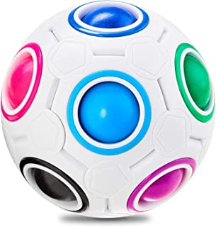 Vdealen Magic Rainbow Puzzle Ball, Speed Cube Ball Puzzle Game Fun Stress Reliever Magic Ball Brain Teaser Fidget Toys for...
