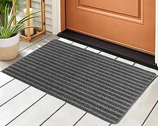 2-Pack Striped Door Floor Mat - Indoor Outdoor Rug Entryway Welcome Mats with Rubber Backing for Shoe Scraper, Ideal for I...