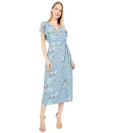 Vince Camuto Flutter Sleeve Antique Floral Wrap Maxi Dress (Bluestone) Women