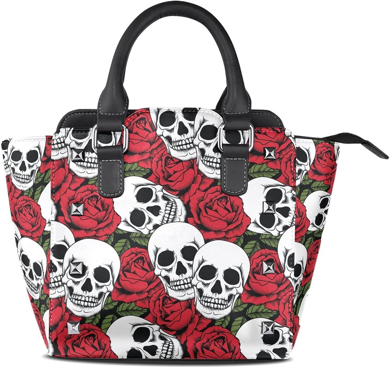 My Little Nest Women's Top Handle Satchel Handbag pinks and Skulls Ladies PU Leather Shoulder Bag Crossbody Bag