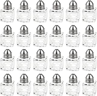 Srenta Mini Salt & Pepper Shakers Set | Classic Design Transparent Glass Kitchenware | Essential Dining Table Refillable Tool | 0.5 Oz. Set of 24