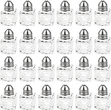 Srenta Mini Salt & Pepper Shakers Set   Classic Design Transparent Glass Kitchenware   Essential Dining Table Refillable Tool   0.5 Oz. Set of 24