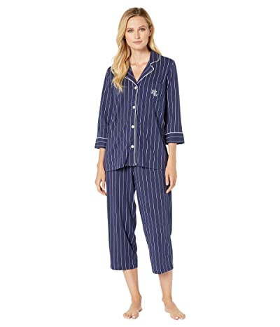 LAUREN Ralph Lauren Essentials Bingham Knits Capri PJ Set (Navy Stripe) Women