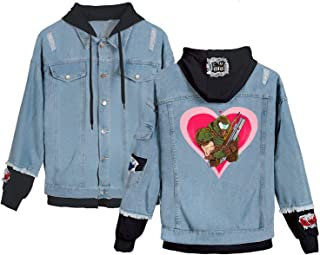 Hooded Denim Jacket Women's Hoody Coat Doom Retro Denim Jackets Girls Hip Hop Street Casual Bomber Harajuku Coats