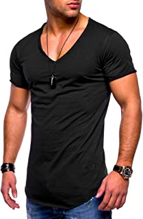 Men's Basic V-Neck Casual Fashion Hipster T-Shirt Muscle Longline Tee Casual Premium Top MT-7102