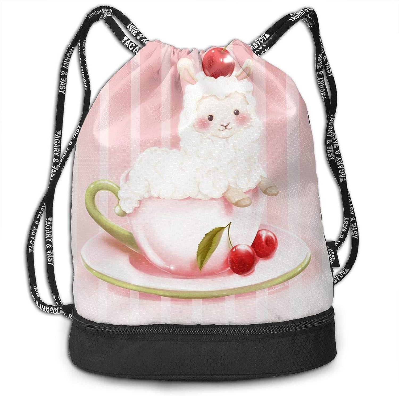 Gymsack Tea Cup Sheep Print Drawstring Bags  Simple Bundle Pocket Backpack