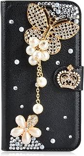 Alcatel Fierce 4 Case,Gift_Source [Card Slot] [Kickstand Feature] Luxury 3D Bling Crystal Rhinestone PU Leather Wallet Magnet Flip Folio Case for Alcatel OneTouch Fierce 4/Pop 4 Plus [Black Butterfly]