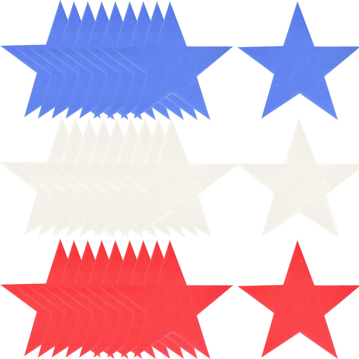 Mayam 48 Pieces Patriotic Foam Star Craft Foam Star Red, White, and Blue Foam Stars for 4th of July Independence Day Decoration