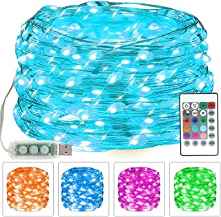 CYLAPEX Fairy Lights USB Color Changing LED String Lights for Bedroom 33ft 100 LEDs Twinkle Light with Remote for Girls Ro...