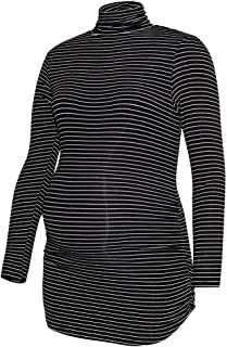 Ritera Womens Turtleneck Stripe Tunic Top Side Ruched Tee Shirt Lightweight Ribbed Knit Pullover