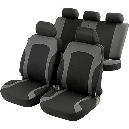 Walser Auto Sitzbezug Elegance Mit Reißverschluss Zipp It Schonbezüge Komplettset 2 Vordersitzbezüge 1 Rücksitzbezug Schwarz Grau 11776 Auto