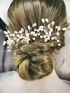 Wedding Rose Gold Hair Bobby Pins Crystal Decorative Flowers Prom Floral Bridal Hair Clips Pin Bun Accessories for Brides and Bridesmaids Women and Girls Set of 3
