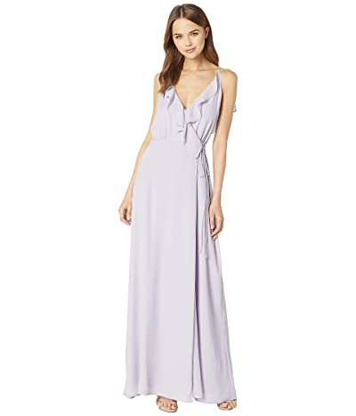 WAYF The Jamie Lace-Up Back Ruffle Cross Front Gown (Lavender) Women