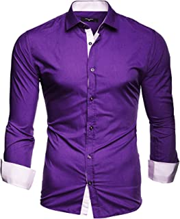 24f6fa71 Kayhan Men´s Long Sleeve Casual Shirt Slim fit Easy Iron Modell - Twoface +