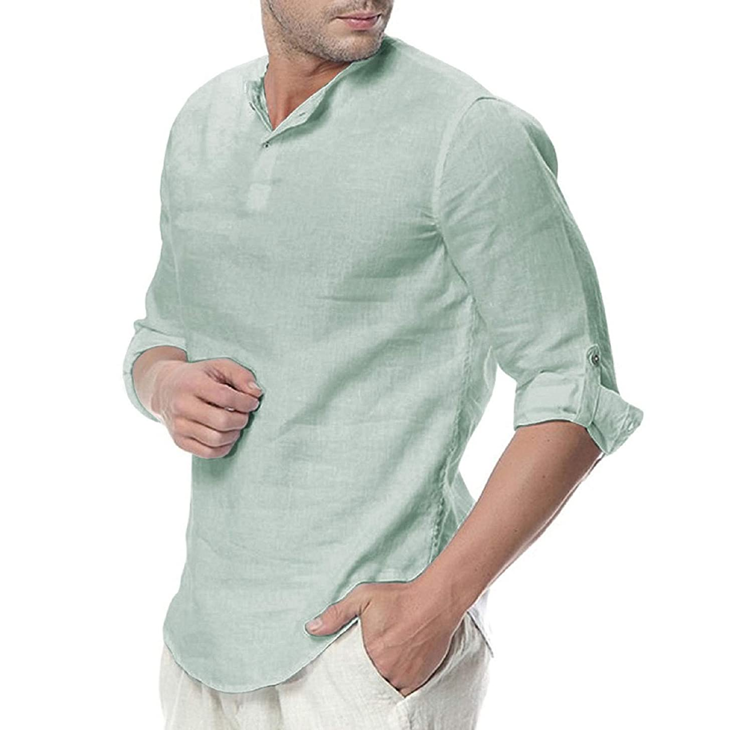baskuwish Mens Linen T-Shirt,Males Summer Button Three Quarter Sleeve Solid Color Loose Casual Tops