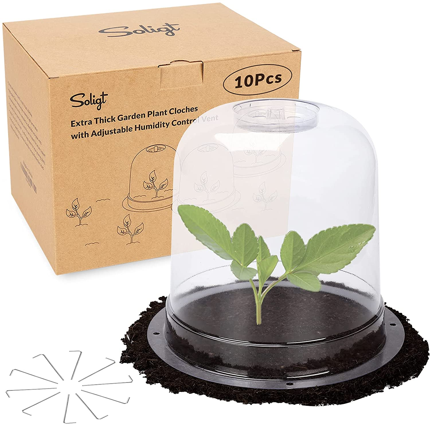 SOLIGT 10 Pack Extra Thick Garden Cloche Plastic Plant Cover