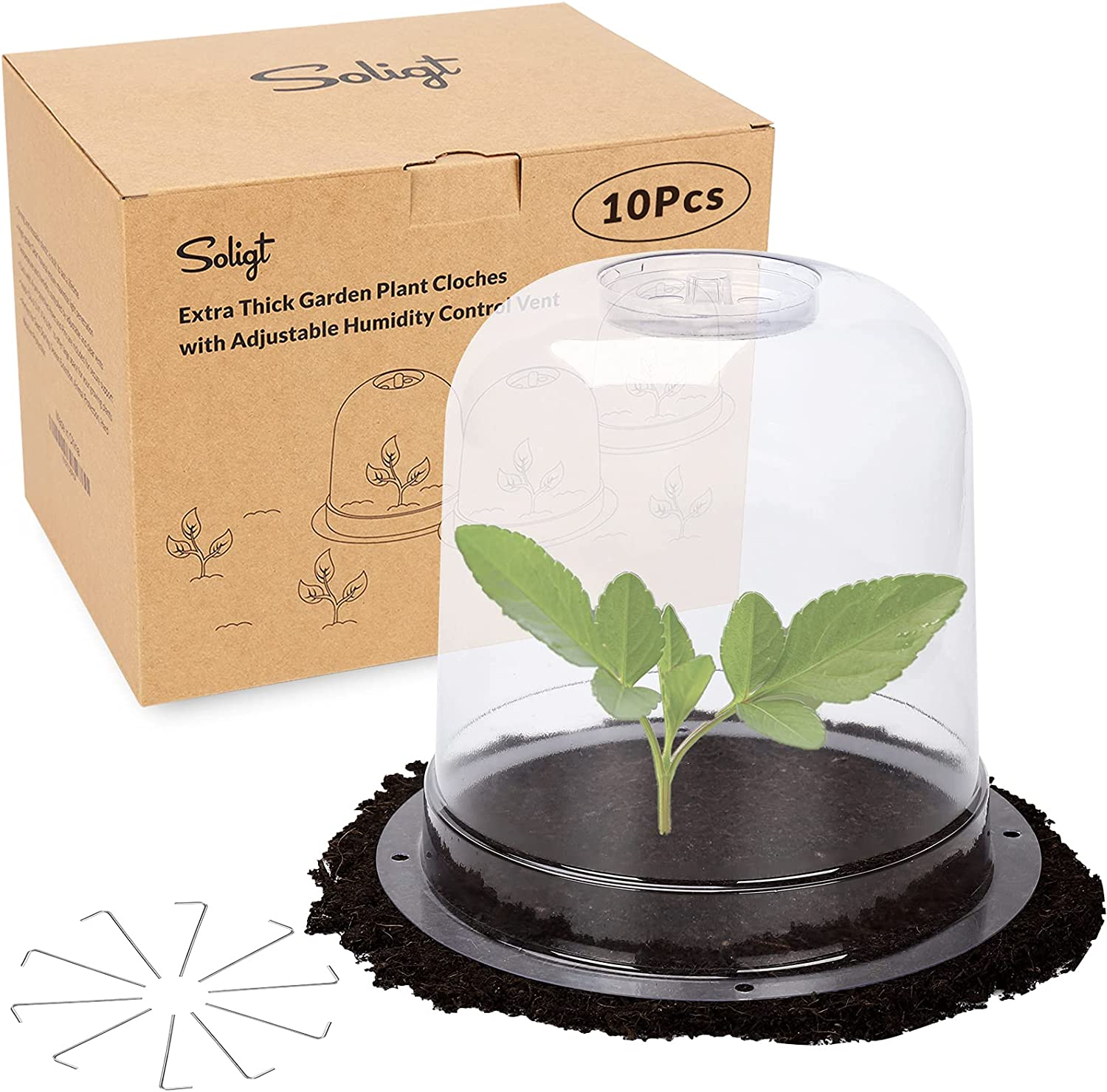 SOLIGT 10 Pack Extra Thick Garden Cloche Plastic Plant Cover Humidity Dome with Clear Vent for Vegetable Seed Starting| 40 Ground Securing Pegs (7.88