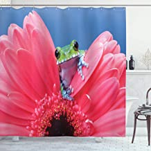 Ambesonne Animal Shower Curtain, Tiny Little Tree Frog on Gerbera Flower Nature Moments Shoots Art, Cloth Fabric Bathroom Decor Set with Hooks, 70 Long, Pink Green