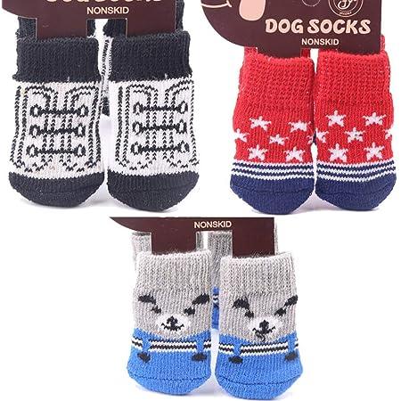 3セット 12個 ペットソックス ペット用靴下 可愛い 犬靴下 肉球保護 滑り止め 秋冬 厚い 暖かい 室内 ソックス セット ニット織り 子犬にのみ適しています S