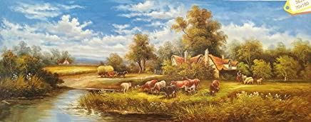3D Decor Art Painting of Idyllic Countryside Landscape Farmland Scenery Artwork on Canvas with Touchable Brush Strokes and Textures of Oil Paintings -0-362-70x180cm