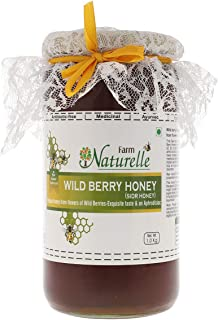Farm Naturelle-Virgin 100% Pure Raw Natural Unprocessed Wild Berry (Sidr) Forest Flower Honey - 1 KG Glass Bottle