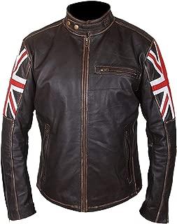 Mens Vintage Cafe Racer Union Jack Distressed Brown Leather Jacket | Union Jack Jacket