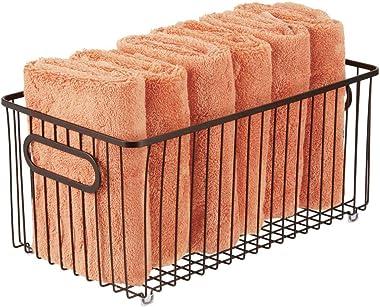 mDesign Metal Bathroom Storage Organizer Basket Bin - Farmhouse Wire Grid Design - for Cabinets, Shelves, Closets, Vanity Cou