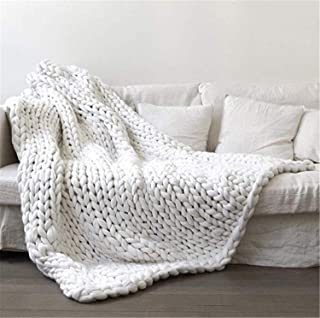 Hand Knit Blanket Handwoven Wool Yarn Mat Throw Bed Sofa Super Warm Home Decor White