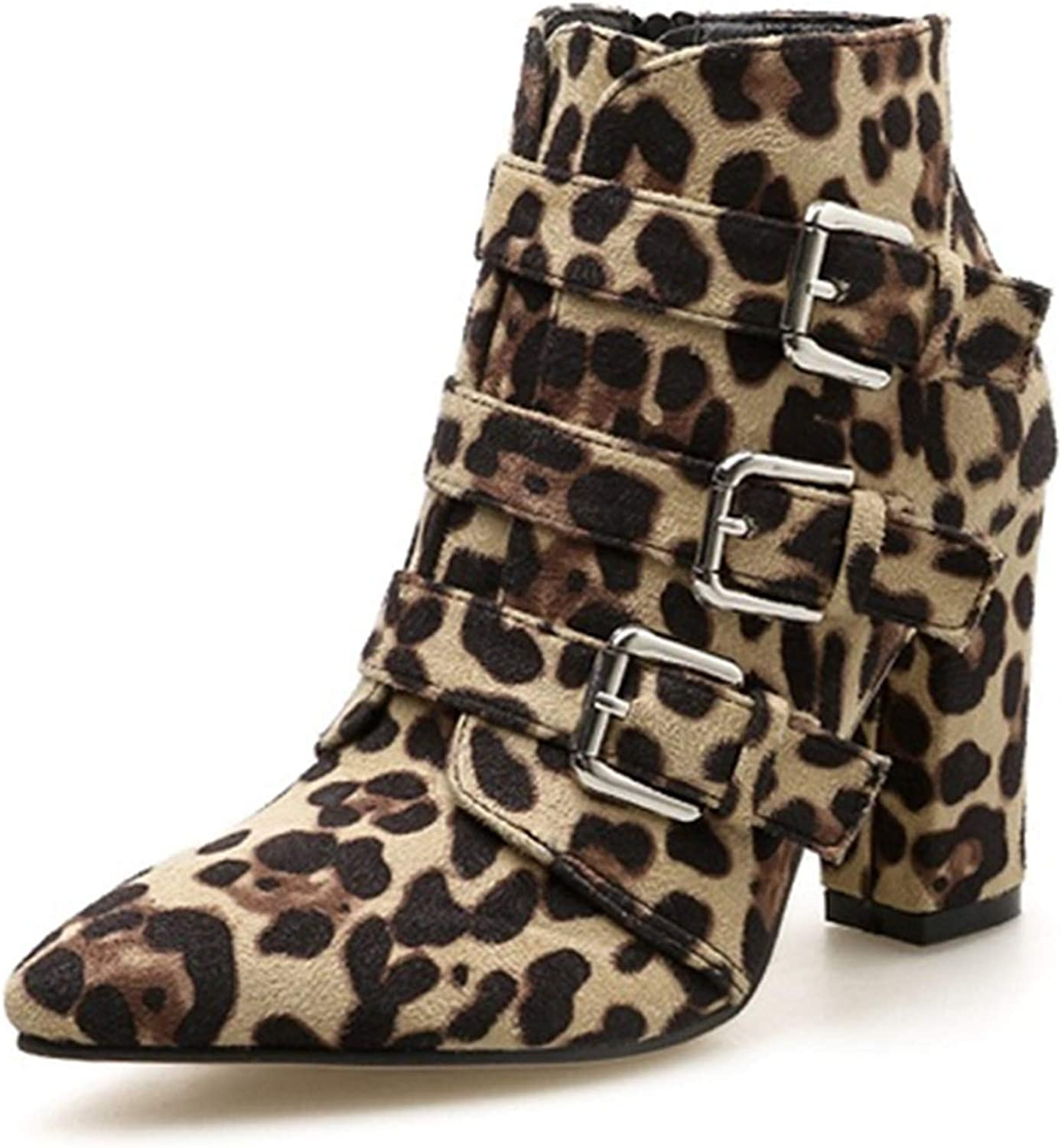 Print Snake Pu Women Ankle Boots Buckle Pointed Toe Foot Wear Thick High Heels Female Boot Party shoes