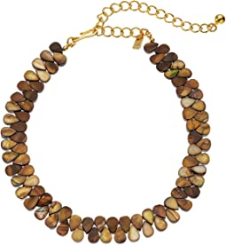 """Kenneth Jay Lane 12"""" Brown Shell Choker with 4 Inch Polished Gold Extender Necklace"""