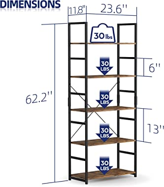 NUMENN 5 Tier Bookshelf, Tall Bookcase Shelf Storage Organizer, Modern Book Shelf for Bedroom, Living Room and Home Office, V