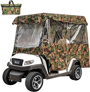 Popsport 4 Passenger Golf Cart Cover Driving Enclosure Straps Golf Cart Quick Fit Cover Clear PVC Window Golf Cart Cover for EZ GO and Club Car
