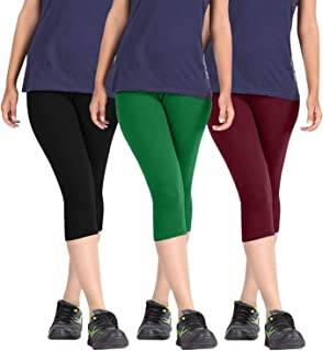 Fablab Casual Capri for Girls_Women_Ladies_ Solid Color_Above Knee Length Capri (BlackGreenMaroon,Free Size) Combo Pack of 3.