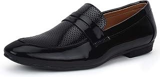 BUWCH Men Formal Black Synthetic Leather Loafer & Mocassins Shoe