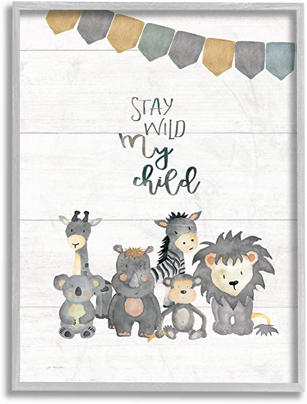 The Kids Room By Stupell Stay Wild My Child Animals Framed Giclee Texturized Art 16x20 Multi Color