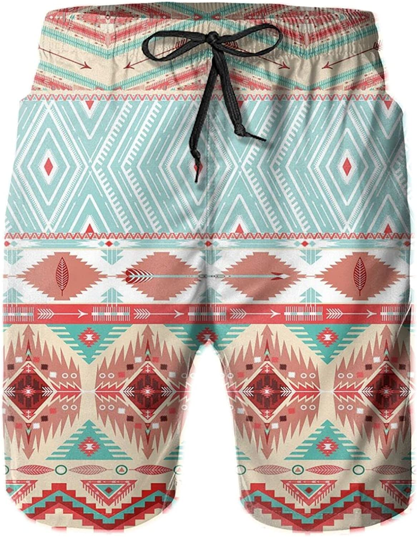 Ethnic Culture Inspirations Ornamental Native American Indigenous Chevron Mens Swim Shorts Casual Workout Short Pants Drawstring Beach Shorts,XL