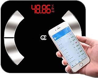 Báscula digital de grasa corporal inteligente con Bluetooth, para la grasa corporal, peso, masa muscular, IMC y edad corporal, 0,01 gramos exactamente para iOS, Android, funciona con Fitbit
