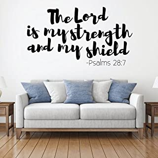 Christian Wall Decal - The Lord Is My Strength - Vinyl Scripture And Religious Home Bathroom Decor - Church Decoration