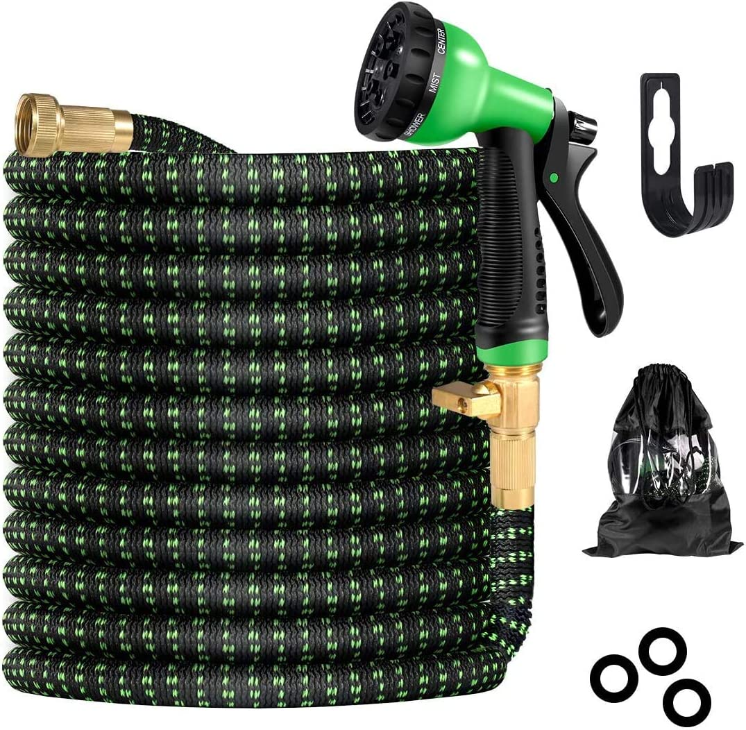 BIIBeSeamu Garden Hose 50FT, Flexible Hose with Spray Nozzle, Expandable Hose with Solid Brass Connector, Leak-Free Retractable Hose with Lightweight, Garden Hoses for Watering and Washing
