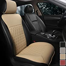 Black Panther 1 Piece Luxury PU Leather Front Car Seat Cover with Backrest, Breathable and Soft Texture Seat Protector,Universal Fit 95% of Cars (Sedan SUV Pickup Van), Triangle Quilted Design, Beige
