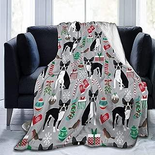 GREATN Boston Terrier Christmas Holiday Home Blanket Anti-Static Nap Blanket Luxury Velvet Fleece Blanket Thermal Throw Sleeping Blankets for Sofa Bed Couch
