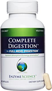 Enzyme Science - Complete Digestion, Full Support for Digestive Health and Help Reducing Gas, Bloating, Indigestion, and Irregularity with 125 Billion CFU Probiotics, Vegetarian, 90 Capsules