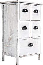 Rebecca Mobili Cajonera de 5 cajones, mesilla de noche blanca, para dormitorio baño, madera de paulownia - Medidas: 66 x 40 x 30 cm ( AxANxF) - Art. RE4106