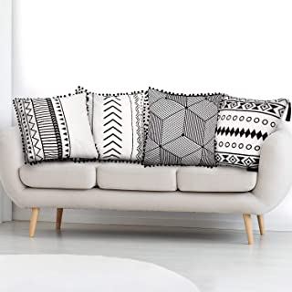4 Pieces Boho Pillow Covers Geometric Throw Pillow Cases Decorative Cushion Covers with Tassels and Balls for Sofa, Bedroom, Chair, Car Seat, 18 x 18 Inch