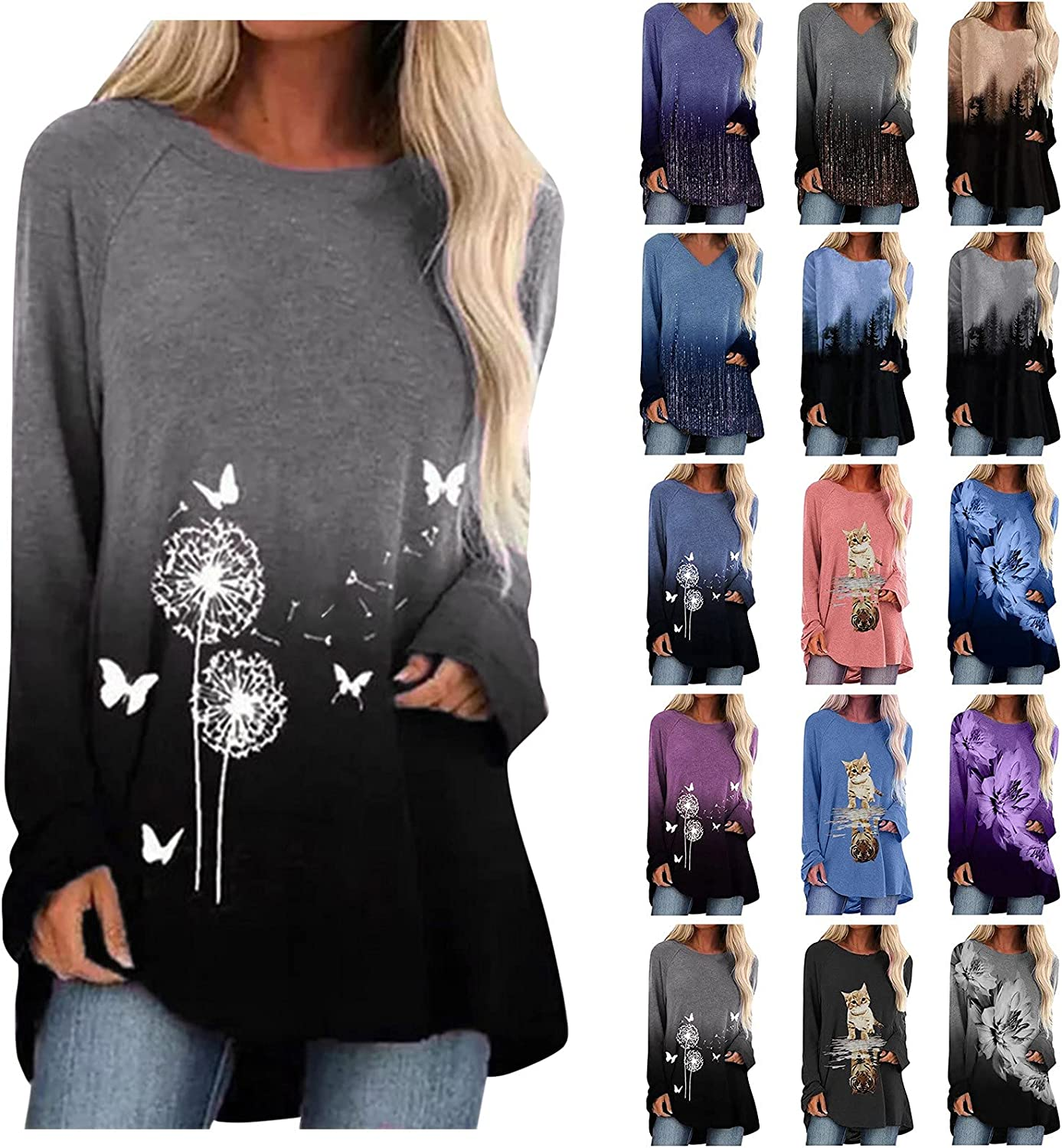 Womens Tops Tie Dye Gradient T-Shirts O Neck Long Sleeve Shirts Splicing Blouses Pullover Sweatshirts Plus Size