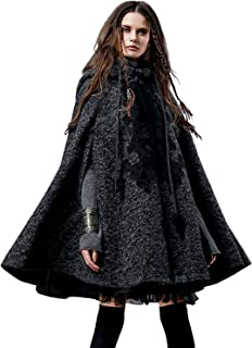 Artka Women's Hooded Plus Size Wool Blend Cape Coat with Vintage Embroidery