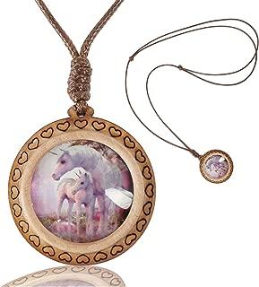 Unicorn Photo Custom Women Necklace Handmade Wooden Heart Pendants Necklace Jewelry