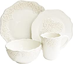 American Atelier 1567019-RB 16 Piece Bianca Medallion Dinnerware Set, White